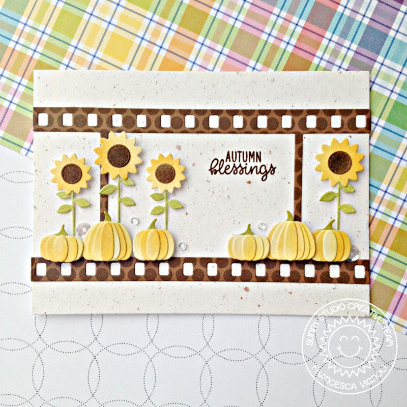 Sunny Studio Stamps Fall Flicks Sunflower & Pumpkins Autumn Blessings Card (using Dots & Stripes Jewel Tones Card)