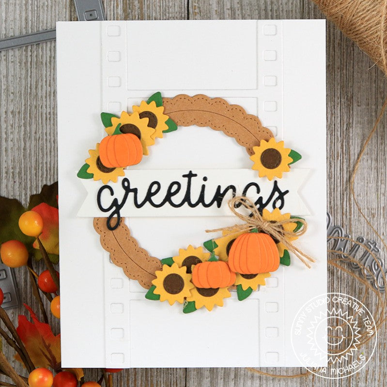 Sunny Studio Stamps Fall Autumn Wreath Greetings Card by Juliana Michaels