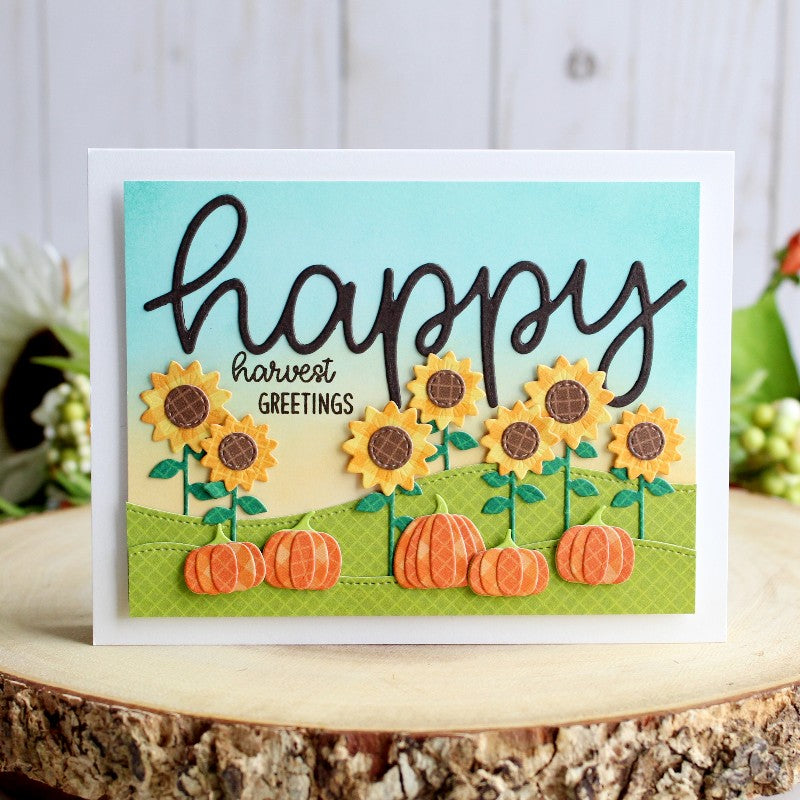 Sunny Studio Stamps Happy Harvest Sunflower & Pumpkins Card (using Large Happy Word Script Die)