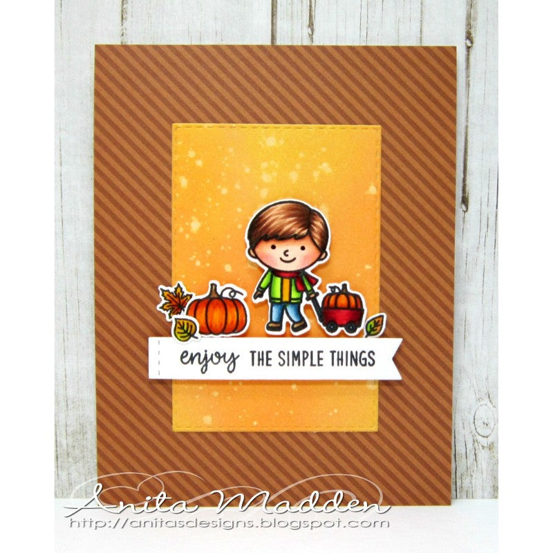 Sunny Studio Stamps Fall Kiddos Boy Pulling Pumpkin Wagon Card (using Dots & Stripes Jewel Tones 6x6 Paper)