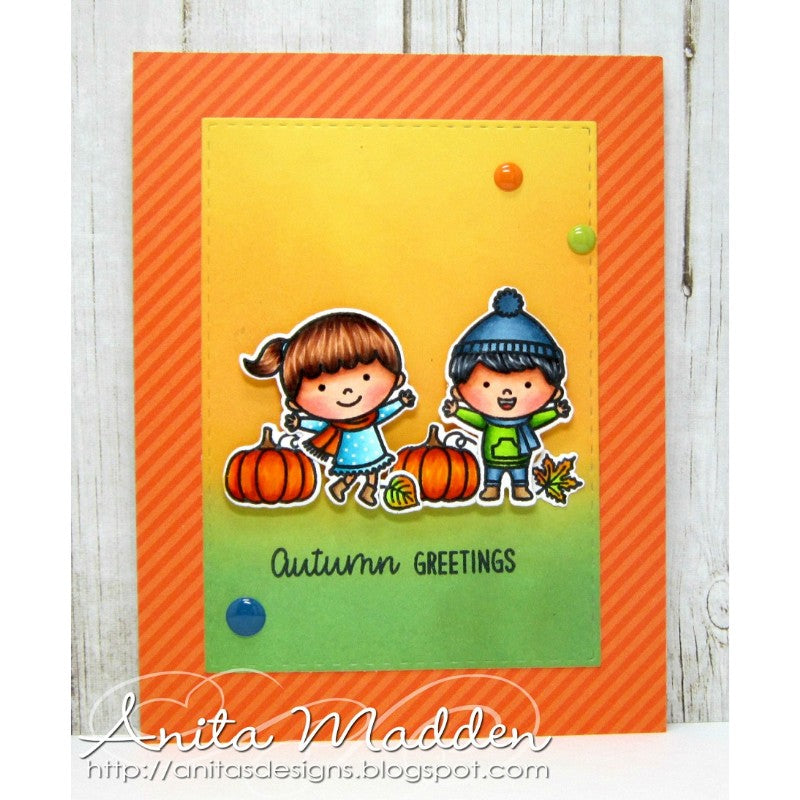Sunny Studio Stamps Fall Kiddos Autumn Greetings Kids in Pumpkin Patch Card (using Dots & Stripes Jewel Tones 6x6 Paper)