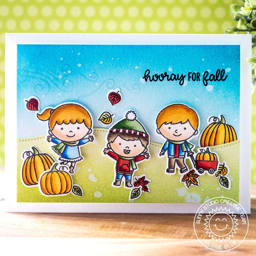 Sunny Studio Stamps Fall Kiddos Pumpkin Patch Card (using Woodland Border dies)