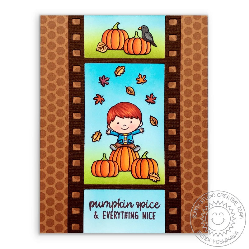 Sunny Studio Stamps Fall Kiddos Playing In The Leaves At The Pumpkin Patch Filmstrip Card by Mendi Yoshikawa