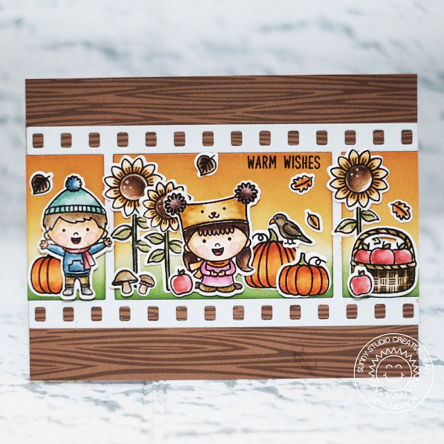 Sunny Studio Stamps Fall Flicks Happy Harvest Card using Woodgrain Print from Amazing Argyle 6x6 Paper Pad