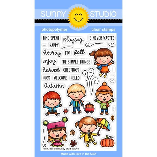 Sunny Studio Stamps Fall Kiddos Autumn Kids 4x6 Photopolymer Stamps