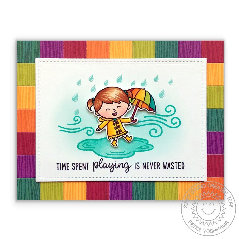 Sunny Studio Stamps Fall Kiddos Rainy Day with Rainbow Umbrella Card by Mendi Yoshikawa