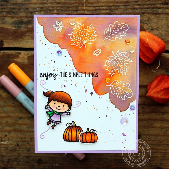 Sunny Studio Stamps Beautiful Autumn Purple & Orange Watercolor Leaves Card