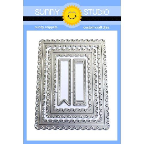 Sunny Studio Stamps Fancy Frames Stitched Scallop Rectangle Die Set