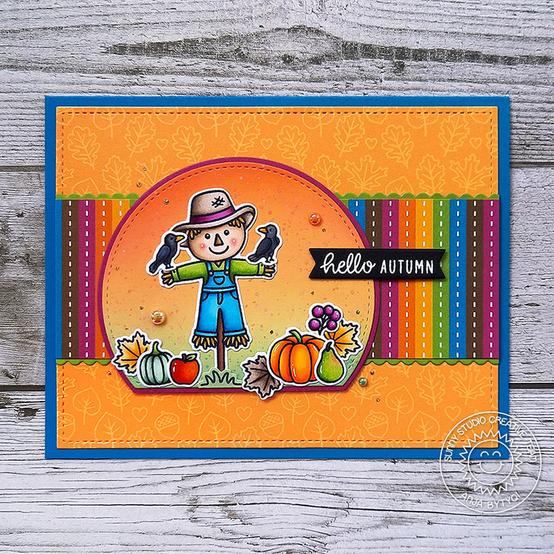 Sunny Studio Stamps Striped Scarecrow With Leaves & Pumpkins Handmade Fall Harvest Themed Card (using Colorful Autumn Double Sided 6x6 Patterned Paper Pack Pad)