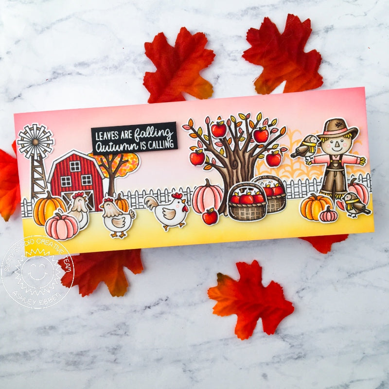 Sunny Studio Fall Apple Tree with Baskets & Scarecrow Farm Themed Handmade Slimline Card (using Happy Harvest 4x6 Clear Stamps)