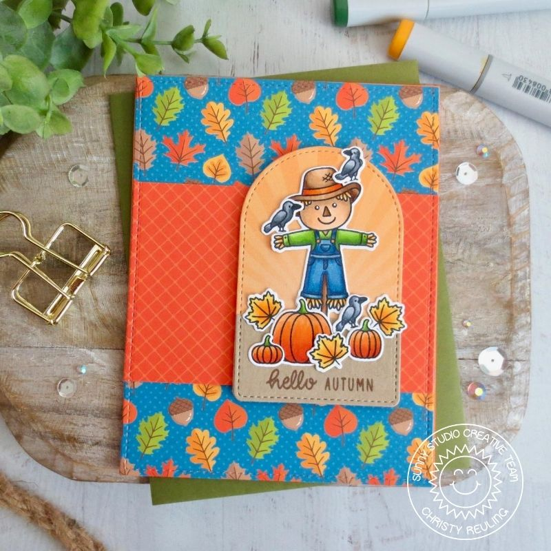 Sunny Studio Stamps Hello Autumn Scarecrow with Pumpkins and Leaves Handmade Fall Harvest Themed Card (using Stitched Arch Metal Cutting Dies)