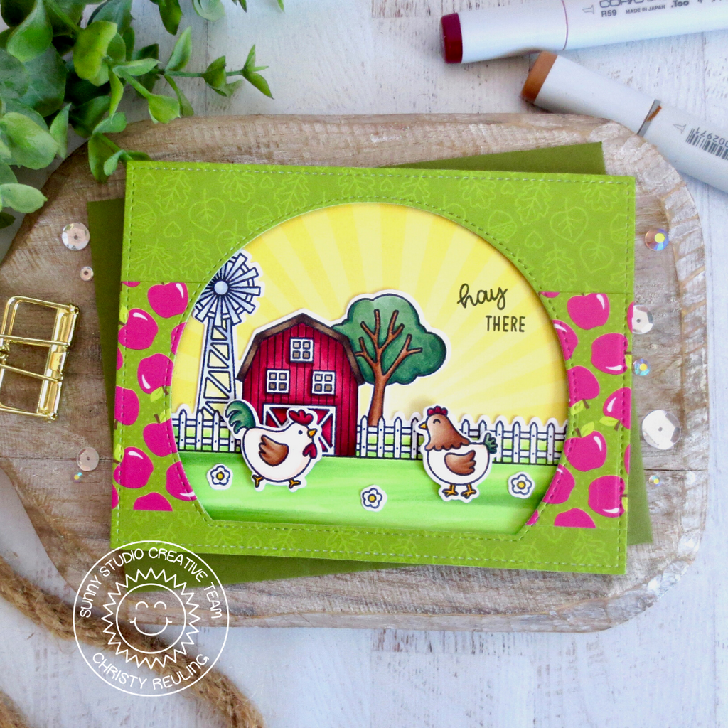 Sunny Studio Stamps Hay There Chickens with Barn Farm Themed Handmade Fall Card with apple print (using Colorful Autumn Double Sided 6x6 Patterned Paper Pack Pad)