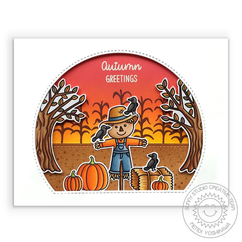 Sunny Studio Stamps Scarecrow in Pumpkin Patch with Corn maze Handmade Fall Autumn Card (using Stitched Semi-Circles Metal Cutting Dies as a window)