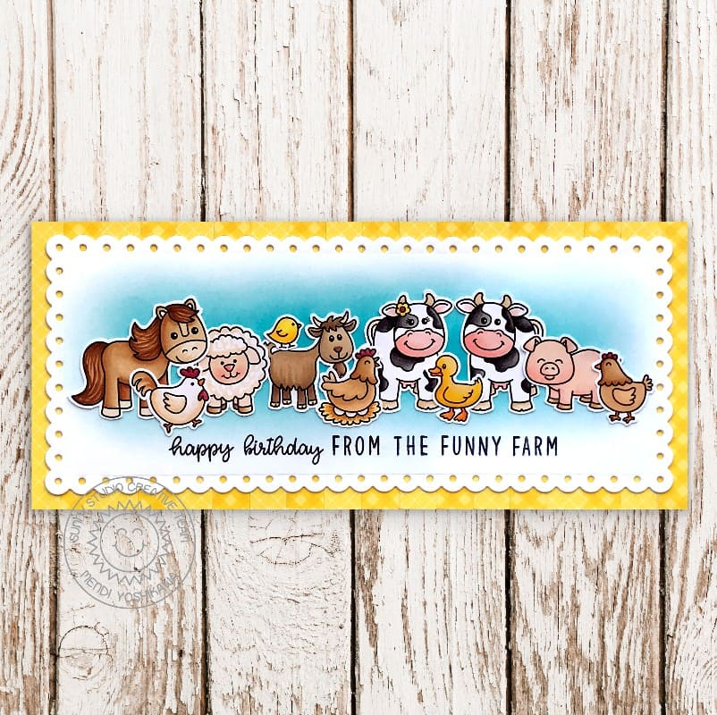 Sunny Studio Stamps Happy Birthday From the Funny Farm Horse, Pig, Chicken, Goat, Cow and Duck Scalloped Slimline Card (using Farm Fresh 4x6 Clear Photopolymer Stamp Set)
