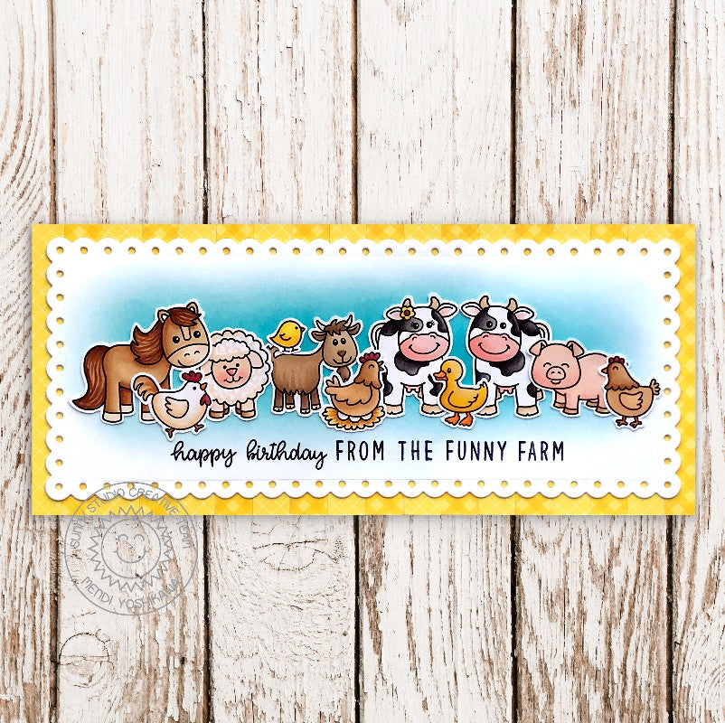 Sunny Studio Happy Birthday From the Funny Farm Horse, Cow, Sheep, Pig & Chicken Handmade Slimline Card with Custom Sentiment (using Kinsley Alphabet 3x4 Clear Stamps)