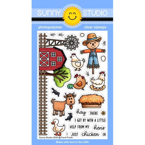 Sunny Studio Stamps Farm Fresh 4x6 Clear Photopolymer Stamp Set featuring barn, fence, windmill, goat, duck, chicken, rooster, crows and scarecrow