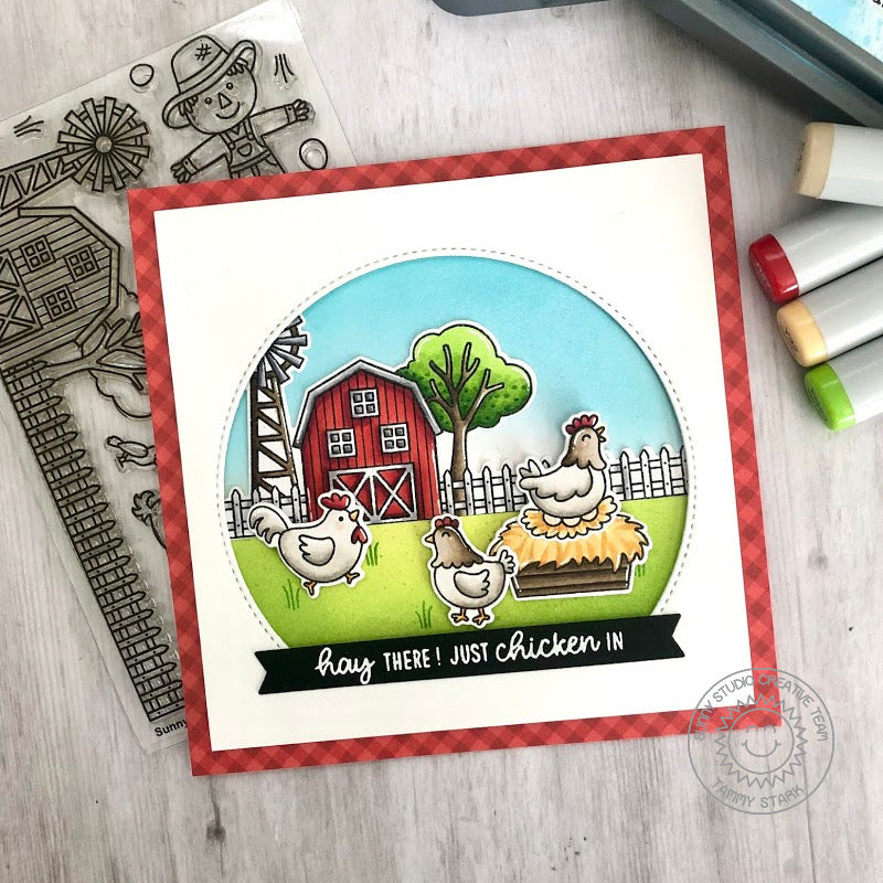 Sunny Studio Stamps Red Gingham Hay There! Just Chicken In Punny Farm Themed Handmade Card (using Stitched Semi-Circle Metal Cutting Dies)