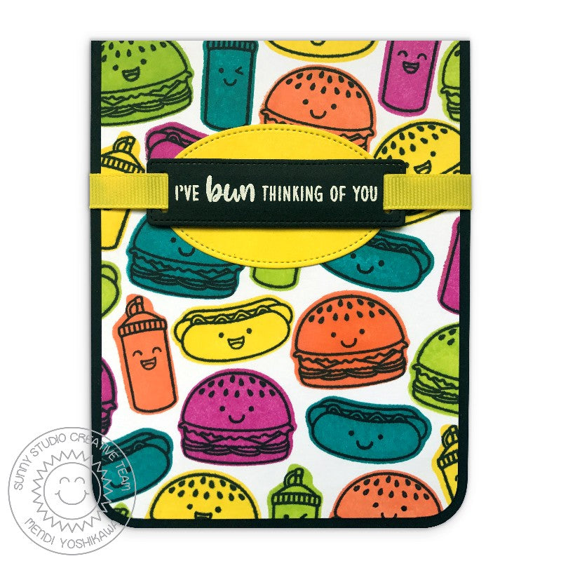 Sunny Studio Stamps Fast Food Fun I've Bun Thinking of You Hamburger & Hot Dog Bright Card