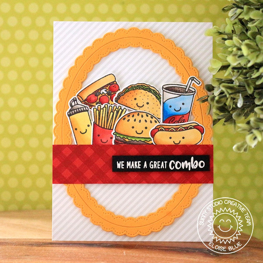 Sunny Studio Stamps Card with Red Tone-on-Tone Stamping using Gingham border from Background Basics set