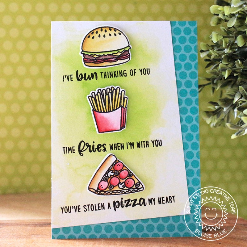 Sunny Studio Stamps Fast Food Fun Hamburger Fries & Pizza Offset Card