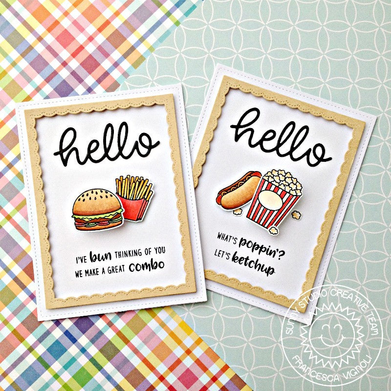 Sunny Studio Stamps Junk Food Popcorn, Hot Dog & Burgers Card featuring hello scripty word die