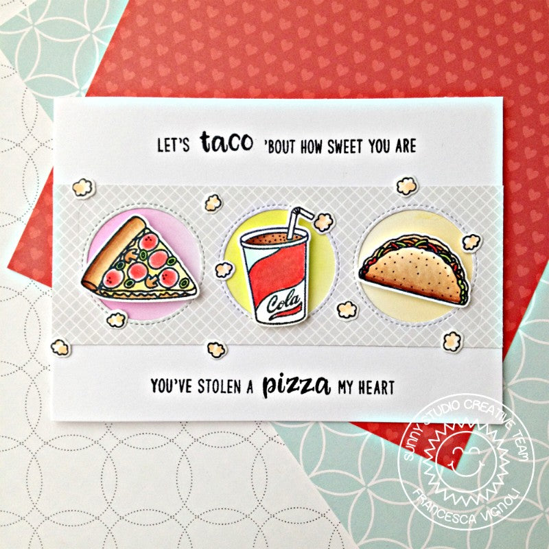 Sunny Studio Stamps Fast Food Fun Tacos and Pizza Card by Franci
