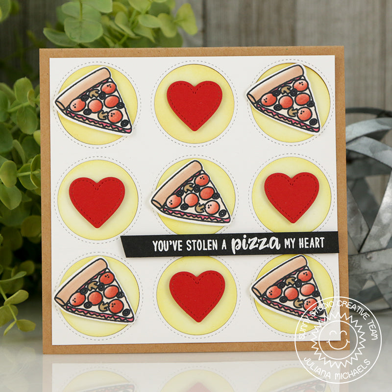 Sunny studio Stamps Tic Tac Toe Hearts & Pizza Card using Window Trio Circle Dies