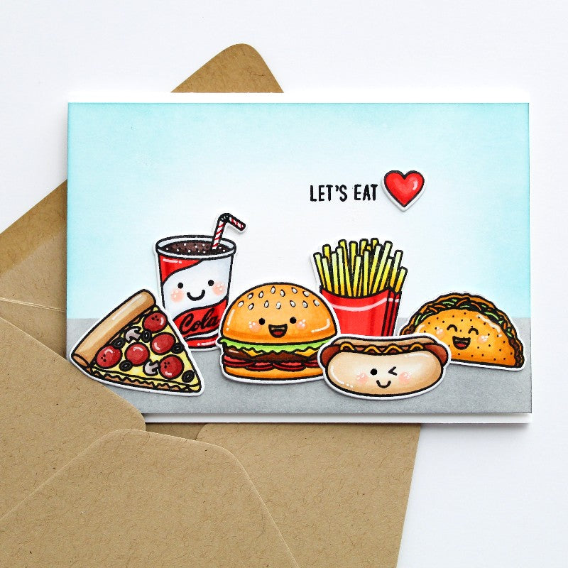 Sunny Studio Stamps Fast Food Fun Junk Food Let's Eat Card