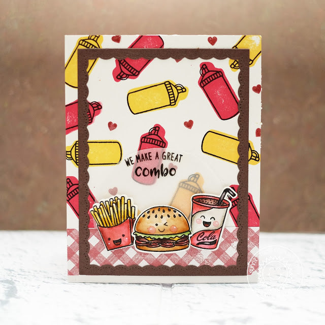 Sunny Studio Stamps Fast Food Fun Hamburger Card with Stitched Scallop border (using Fancy Frames Rectangle Dies)