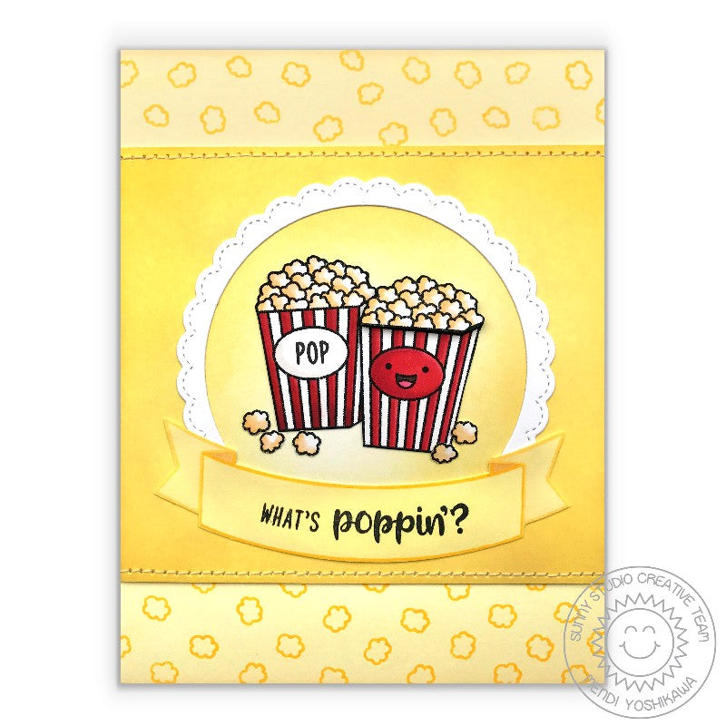 "Sunny Studio Stamps Fast Food Fun ""What's Poppin?"" Popcorn Card"