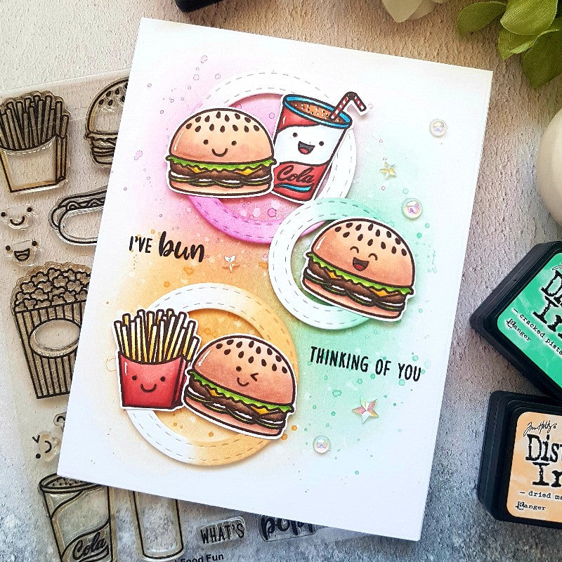 Sunny Studio Stamps Fast Food Fun Burgers & Fries Pastel Card