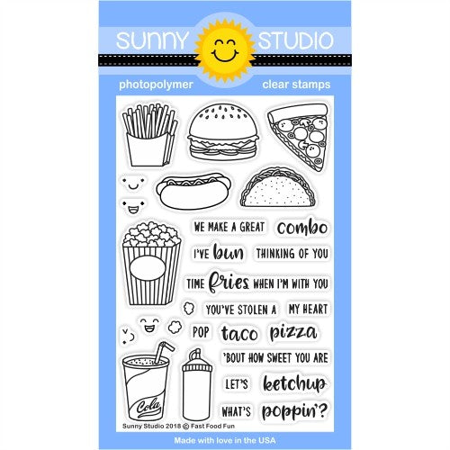 Sunny Studio Stamps Fast Food Fun 4x6 Clear Photopolymer Stamp Set