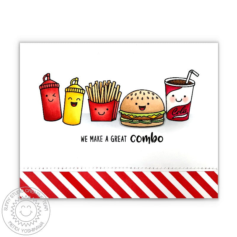Sunny Studio Red Striped Cheeseburger Fast Food Card using Background Basics Border Stamps