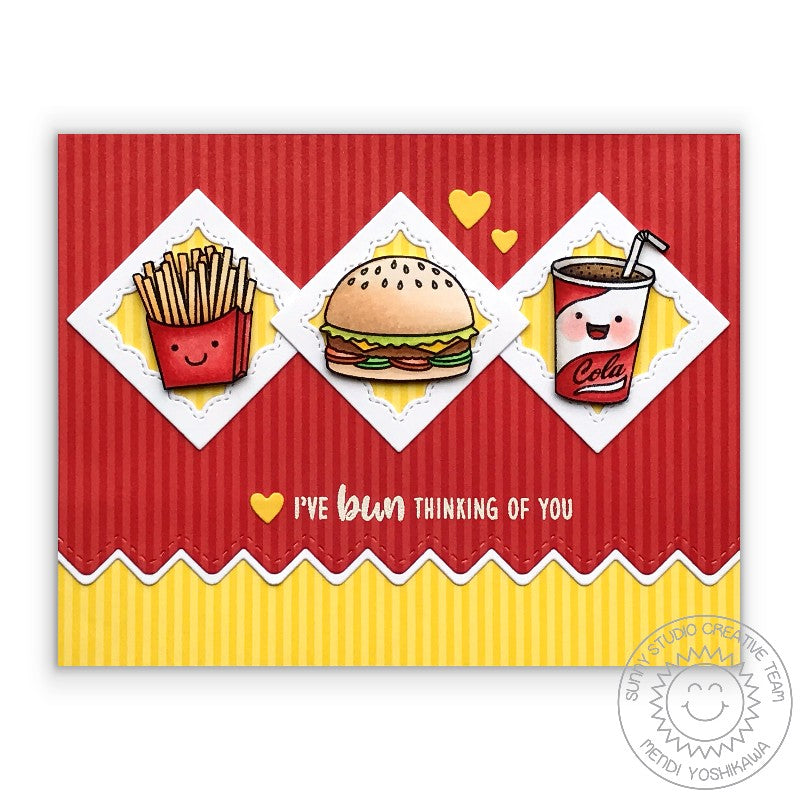 Sunny Studio Stamps Hamburger, Fries & Soda Pop card using the Fancy Frames stitched scallop Square dies