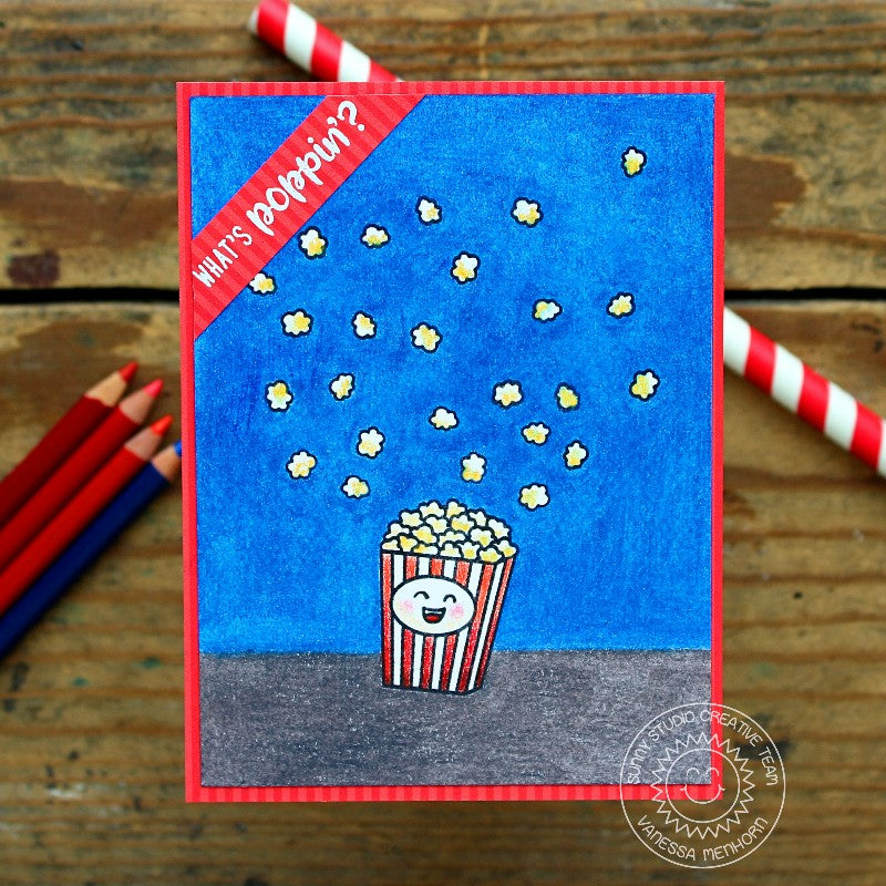 Sunny Studio Stamps Fast Food Fun What's Poppin'? Red, White & Blue Popcorn Card
