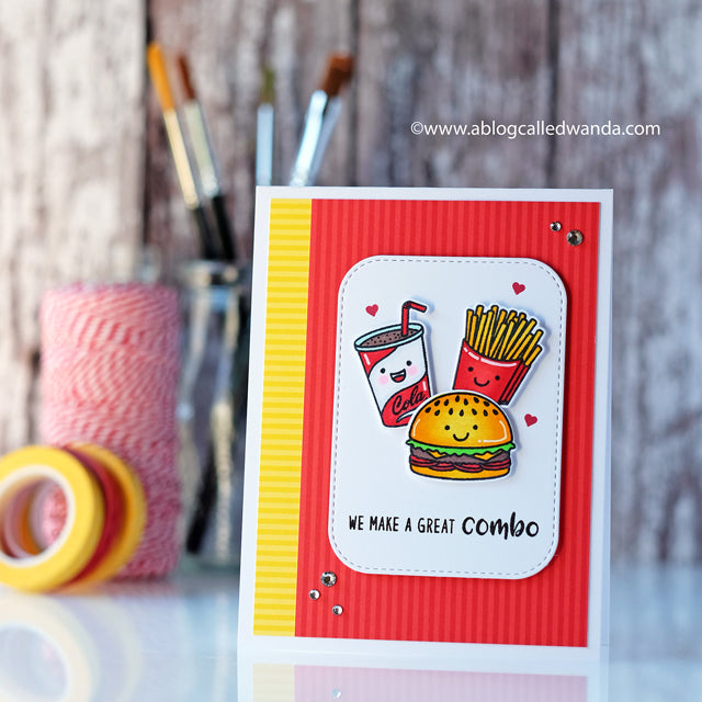 Sunny Studio Stamps Cheeseburger, Fries & Milkshake Card featuring Striped Silly 6x6 Patterned Paper