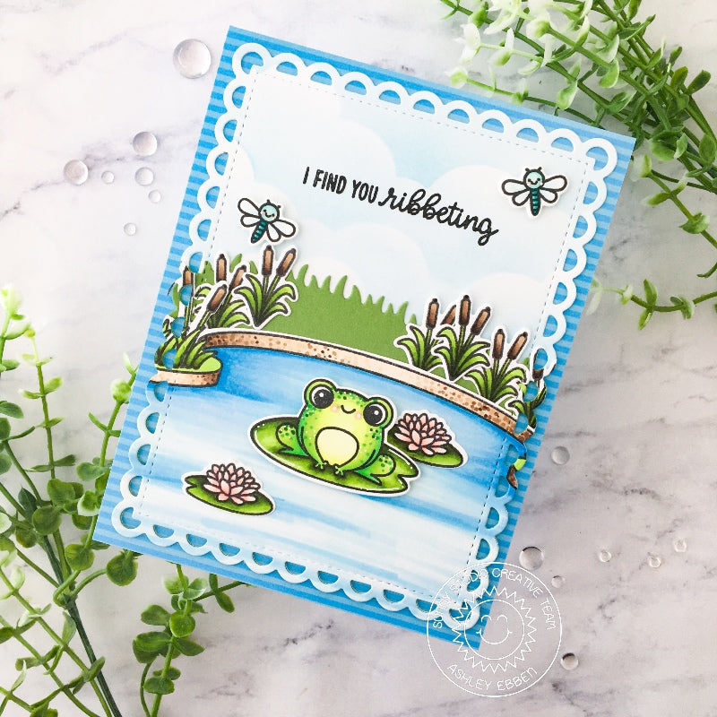 Sunny Studio I Find You Ribbeting Frog Sitting On Lily Pad with Pond Card (using Country Scenes 4x6 Clear Stamps)