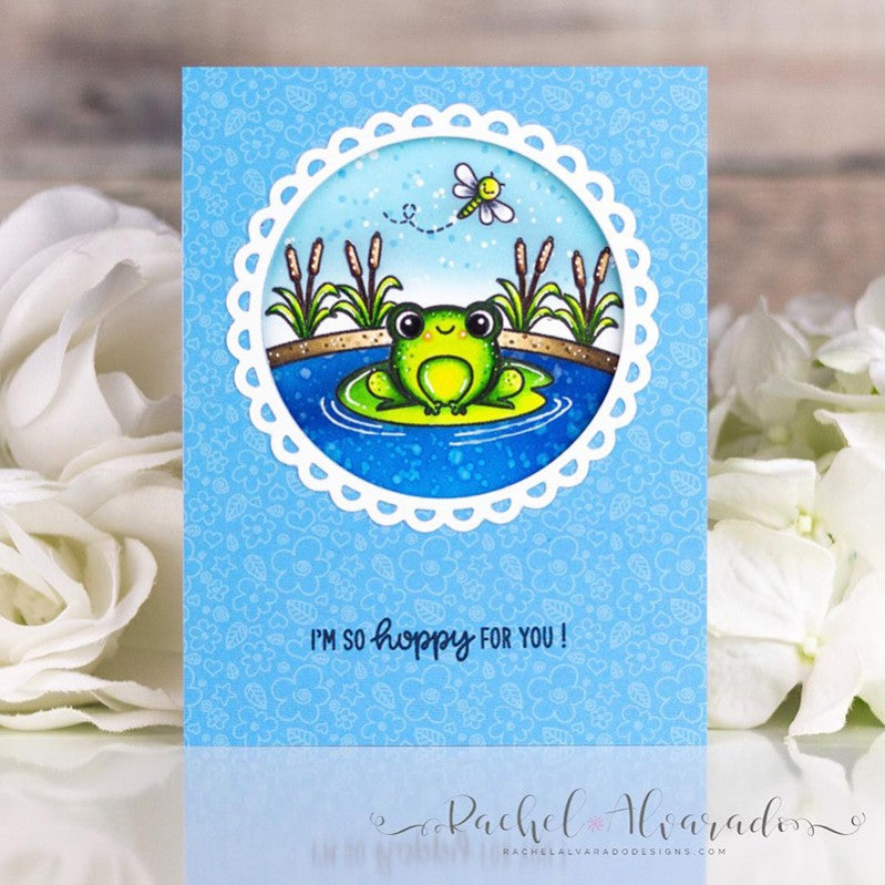 Sunny Studio Stamps I'm So Happy For You Frog on Lily Pad in Pond Handmade Card (using Scalloped Circle Mat 3 Dies)