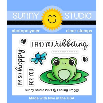 Sunny Studio Stamps Feeling Froggy 2x3 Frog with Lily Pad & Dragonfly Clear Photopolymer Stamp Set