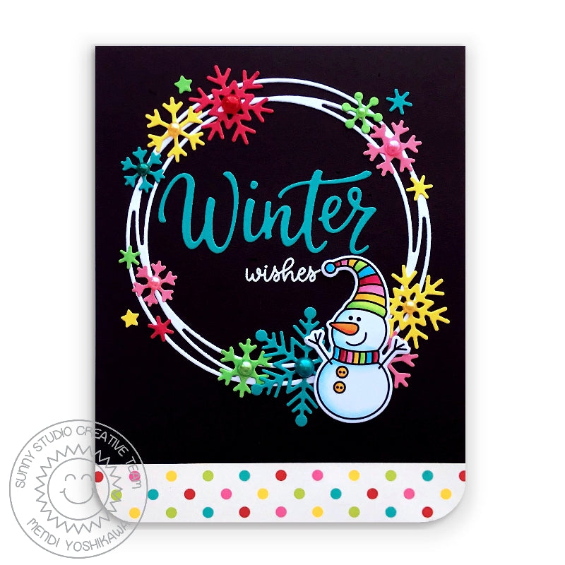 Sunny Studio Stamps Winter Wishes Rainbow Polka-dot Snowman Holiday Christmas Card (using Very Merry 6x6 Patterned Paper Pack)