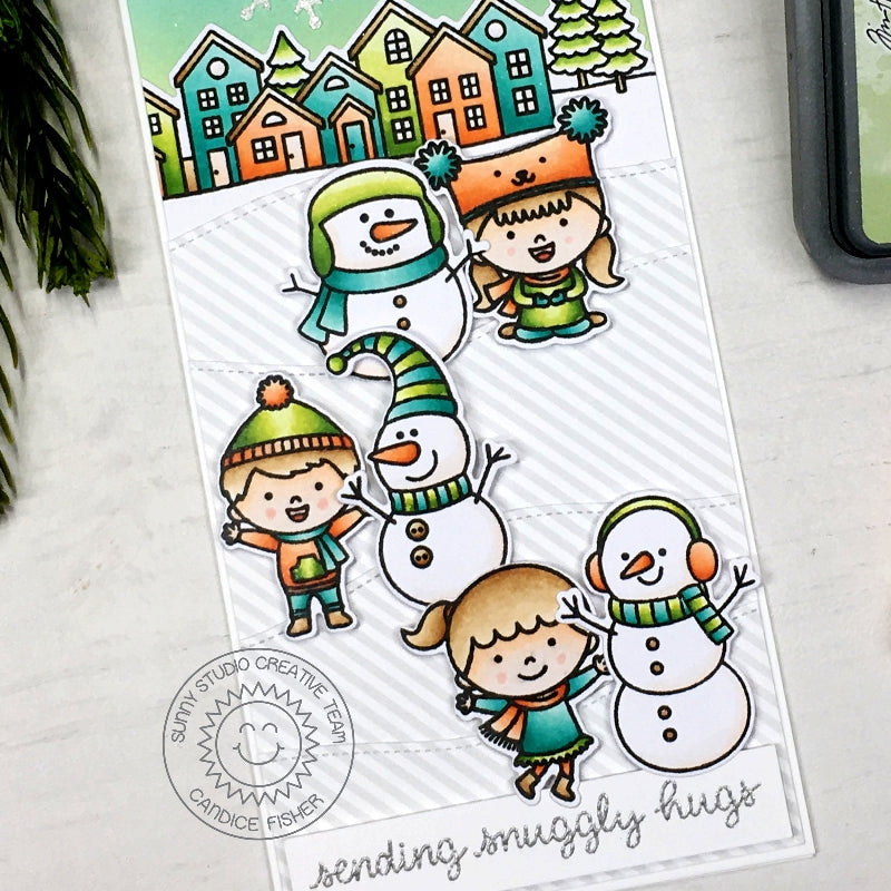 Sunny Studio Stamps Gray Striped Snowman Handmade Holiday Christmas Card (using Subtle Grey Tones 6x6 Paper Pack)