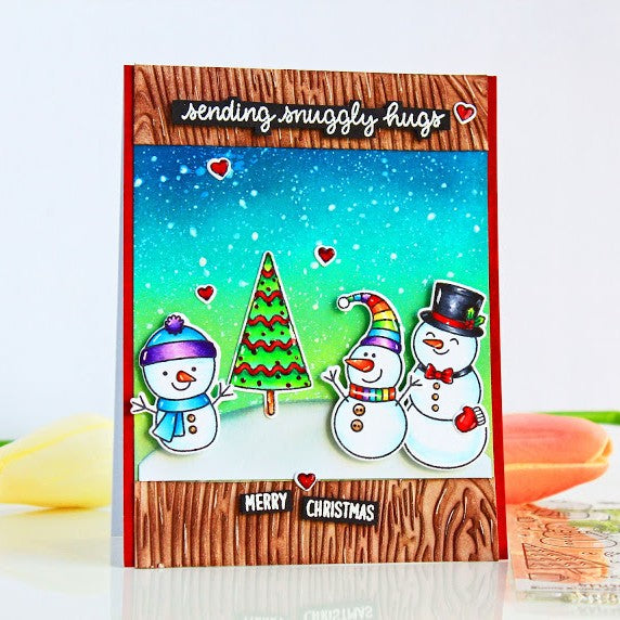 Sunny Studio Stamps Snowmen Wood Embossed Holiday Christmas Card (using Woodgrain 6x6 Embossing Folder)
