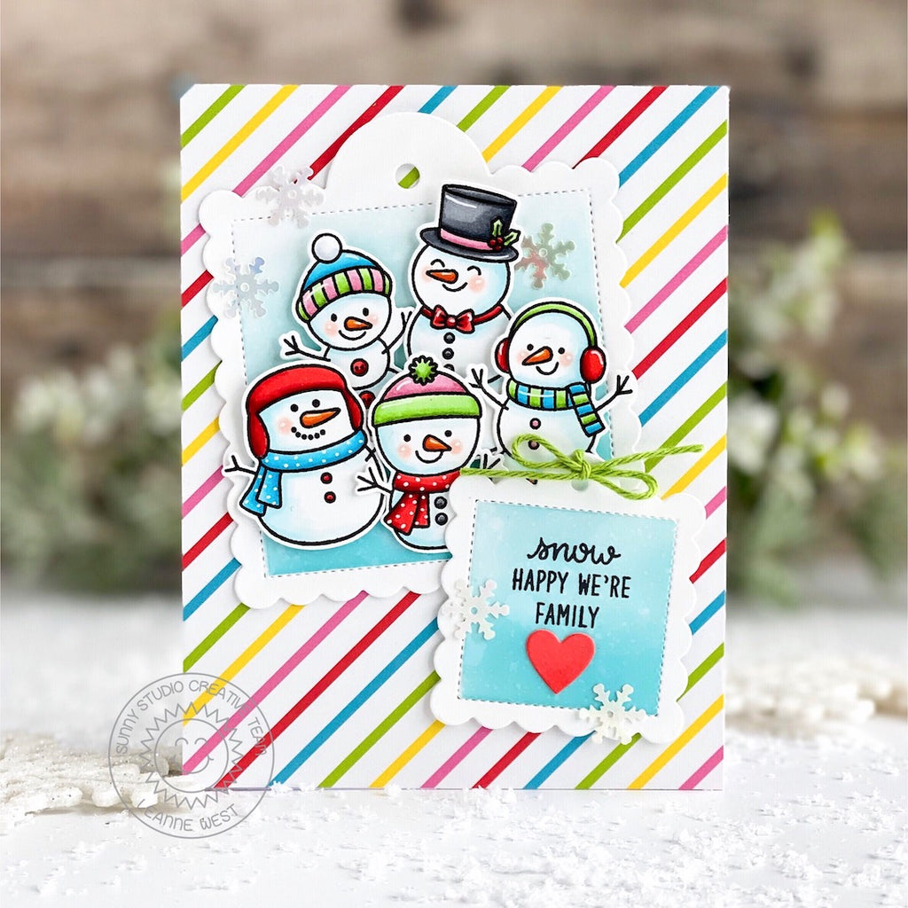 Sunny Studio Stamps Rainbow Striped Snowman Handmade Christmas Holiday Card by Leanne West (using stitched Scalloped Square Tag dies)