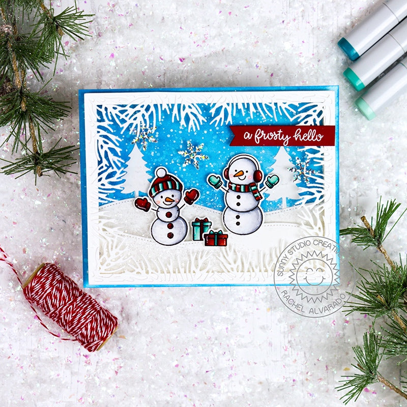 Sunny Studio Stamps White Snowy Hills Snowman Handmade Holiday Christmas Card by Rachel (using stitched Woodland Hillside Border Dies)
