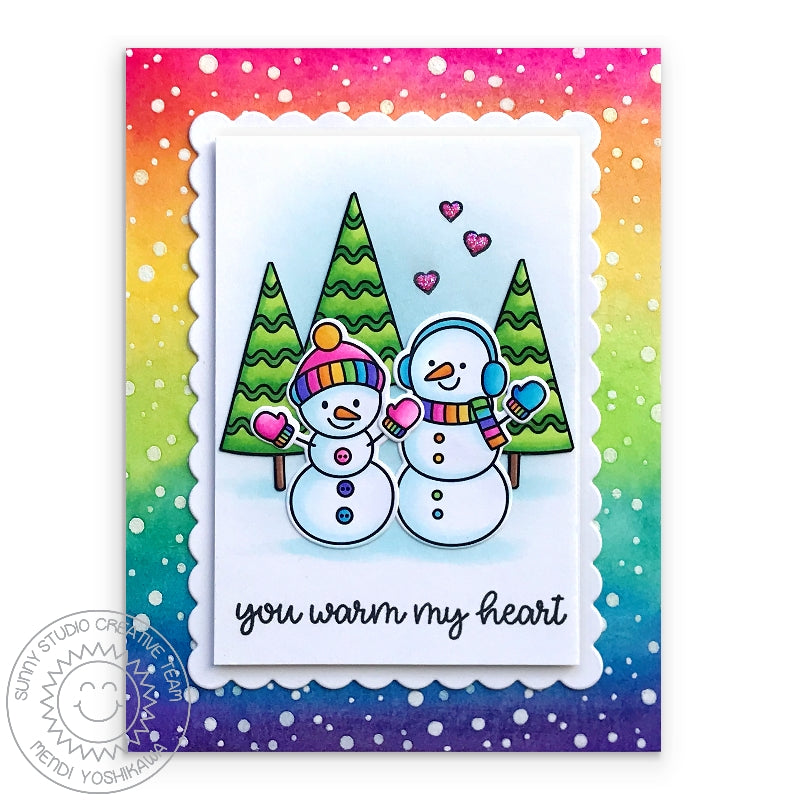 Sunny Studio Rainbow Snowflakes and Snowmen Winter Holiday Christmas Card by Mendi Yoshikawa (using Frosty Flurries 2x3 Background Stamps)