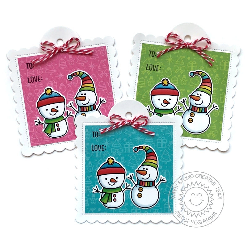 Sunny Studio Stamps Snowman Christmas Holiday Gift Tags (using Stitched Scalloped Square Tag Cutting Dies)