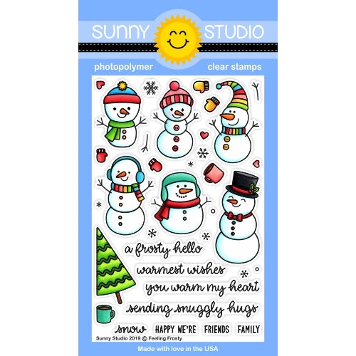 Sunny Studio Stamps Feeling Frosty Snowman Winter Christmas Holiday Snowmen 4x6 Photopolymer Clear Stamp Set