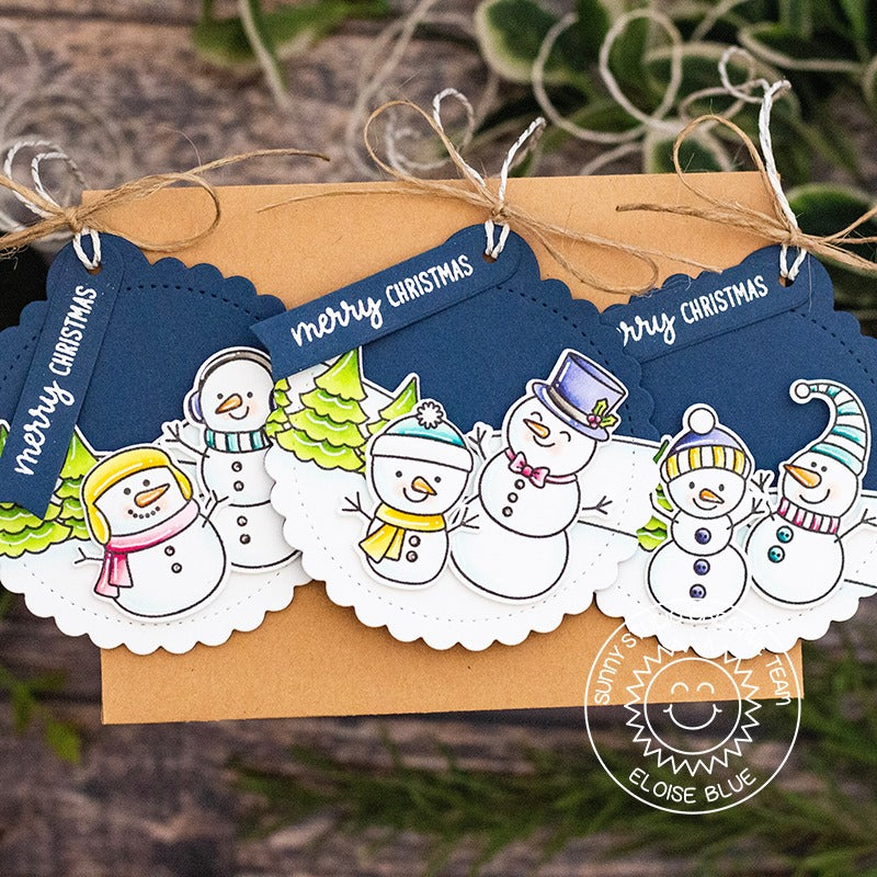 Sunny Studio Stamps Navy and White Feeling Frosty Snowmen Christmas Holiday Gift Tag by (using stitched Scalloped Circle Tag Dies)