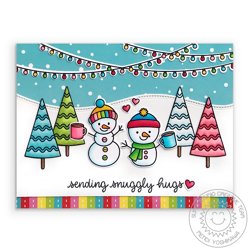 "Sunny Studio Stamps ""Sending Snuggly Hugs"" Rainbow Snowman Holiday Christmas Card (using stitched Woodland Hillside Border Dies)"