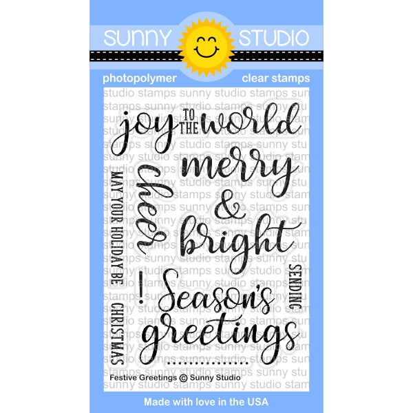 Sunny Studio Stamps Festive Greetings Christmas Holiday Sentiments 3x4 Photo-polymer Clear Stamp Set